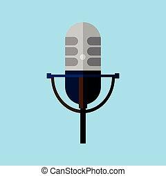 microphone, graphique, classique, style, illustration, vecteur