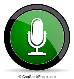 microphone green web glossy icon with shadow on white background
