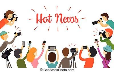 microphone, groupe, journaliste, appareil photo, journaliste, caméscope
