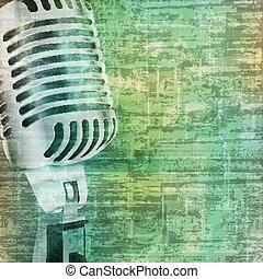 microphone, grunge, résumé, fond, retro