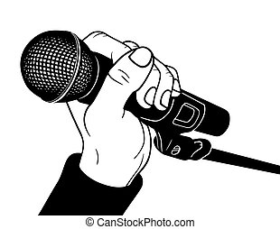 Microphone - Hand with microphone, vector illustration