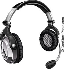 Illustration of a headset like those used for telesales, online chat or telephone customer helpdesk support.