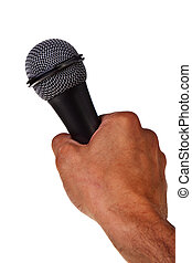 Microphone hold in male caucasian hand isolated over white background.