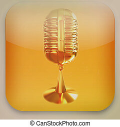 Microphone icon . 3D illustration. Vintage style.