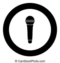 Microphone icon black color in circle