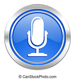 microphone icon, blue button, podcast sign
