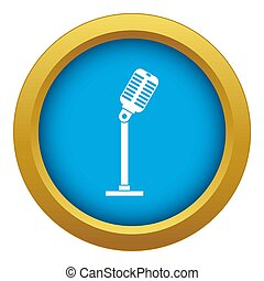 Microphone icon blue isolated