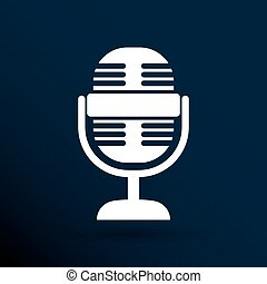 microphone icon broadcasting isolated journalist record -...