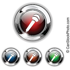Microphone icon, button, vector ill