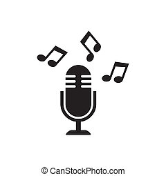 Microphone icon - Black vector microphone icon with notes...