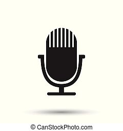 Microphone icon. Flat vector illustration. Microphone sign symbol with shadow on white background.