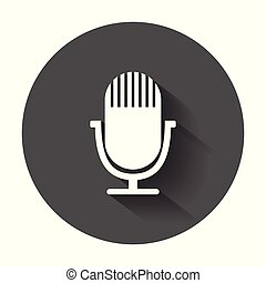 Microphone icon. Flat vector illustration with long shadow.