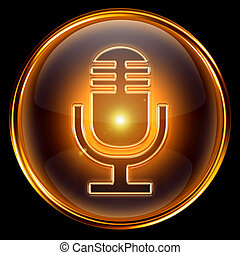 Microphone icon golden, isolated on black background.