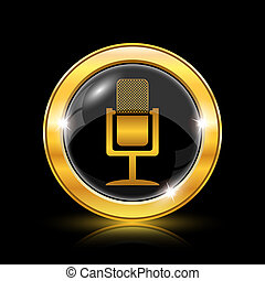 Microphone icon - Golden shiny icon on black background - ...