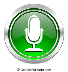 microphone icon, green button, podcast sign