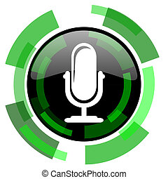 microphone icon, green modern design isolated button, web and mobile app design illustration