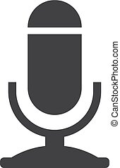 Microphone icon in black on a white background. Vector illustration