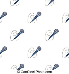 Microphone icon in cartoon style isolated on white background. Event service symbol stock vector illustration.