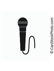 Microphone Icon in flat style isolated on gray background. Vector