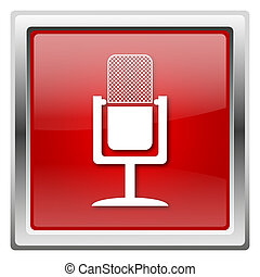 Microphone icon - Metallic icon with white design on red ...