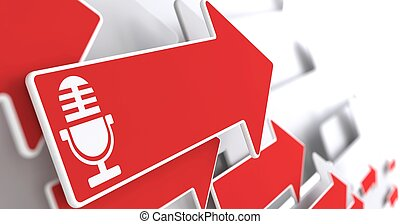 Microphone Icon on Red Arrow.