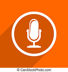 microphone icon. Orange flat button. Web and mobile app design illustration