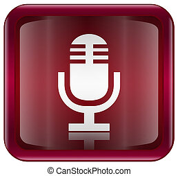 Microphone icon red, isolated on white background