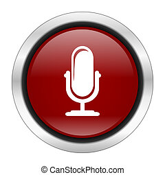 microphone icon, red round button isolated on white background, web design illustration