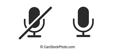 Microphone Icon Set Isolated on White Background