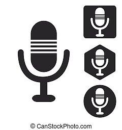 Microphone icon set, monochrome