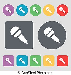 Microphone icon sign. A set of 12 colored buttons. Flat design. Vector