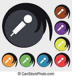 microphone icon sign. Symbol on eight colored buttons. Vector