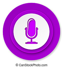 microphone icon, violet button, podcast sign