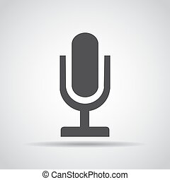 Microphone icon with shadow on a gray background. Vector illustration