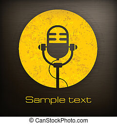 Microphone icons - Retro microphone icon in yellow and black...