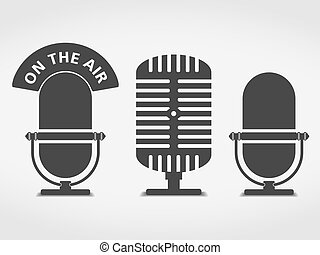Microphone icons set, vector eps10 illustration