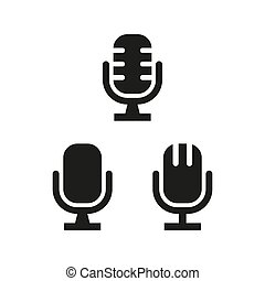Microphone icons on white background.
