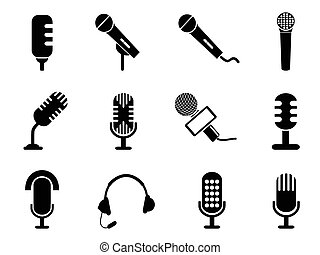microphone icons set - isolated black microphone icons set...