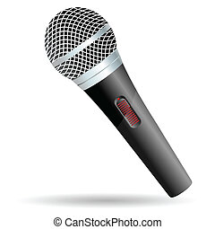 Microphone - illustration of isolated microphone on white...