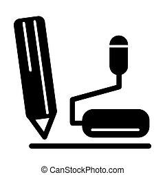 microphone, illustration., solide, stylo, vecteur, noir, table, icon., blanc, linéaire
