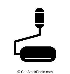 microphone, illustration., solide, vecteur, noir, table, icon., blanc, linéaire