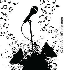 Microphone and from columns music. A vector illustration