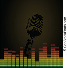 Microphone in a disco on a black background. A vector illustration