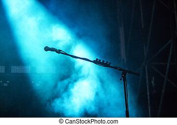 Microphone in blue light