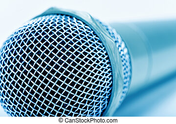 microphone, in blue toning