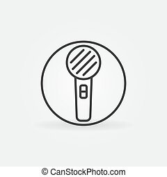 Microphone in Cirlce vector thin line concept round icon or design element