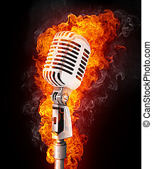 Microphone in Fire - Old Microphone in Fire. Computer...