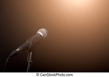 Microphone in light of spotlight