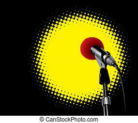 Microphone In Spotlight (vector) - Microphone In Spotlight...