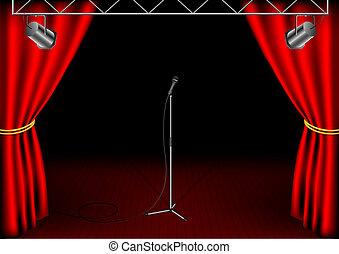 microphone, isolé, étape